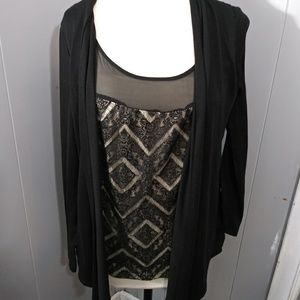 3/$20 AGB Cardigan Style Top w/ Insert